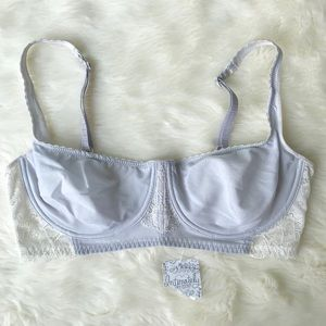 Intimately Free People Gray White Lace Demi Bra